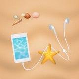 Smartphone on the beach Stock Photos