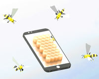Smartphone and bees Stock Photography