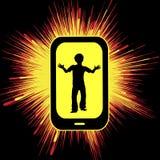 Smartphone-Überbeanspruchung, die Kinder verletzt Stockbild