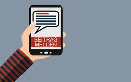 Smartphone: Berichts-Kommentar deutsch - flacher Entwurf vektor abbildung