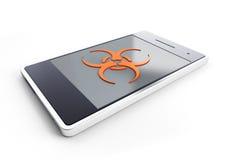 Smartphone besmet met een virus Stock Foto's