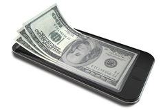 Smartphone betalningar med dollar Arkivfoto