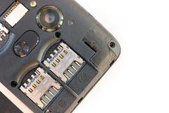 Smartphone bez tylnej pokrywy, SIM slot na kartę obrazy stock