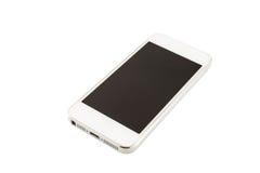 Smartphone bianco con lo schermo in bianco immagine stock