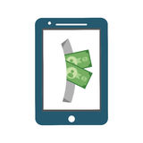 Smartphone bill money financial item design Stock Photography