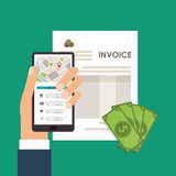 Smartphone bills document paymet financial item iconra Royalty Free Stock Images