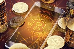 Vertical smartphone with Bitcoin on-screen among piles of Bitcoins. royalty free illustration