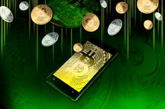 Smartphone with Bitcoin symbol on-screen among piles of golden and silver Bitcoins on green Royalty Free Stock Photo