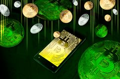 Smartphone with Bitcoin symbol on-screen among piles of golden and silver Bitcoins on green Stock Photos