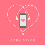 Smartphone black color flat design. Mock up, heart pixel pink color on screen template and heart shape made from earphones cable white color illustration Royalty Free Stock Image