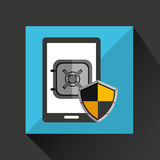 Smartphone black safe box money icon. Illustration stock images