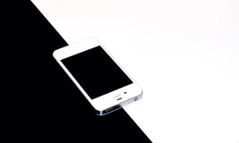 Smartphone black and white background (black and white photo) Royalty Free Stock Photo