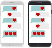 Smartphone black and white, chatting sms app template bubbles, w Stock Photos