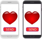 Smartphone black and white, and SEND button with heart icon. Pla Stock Image