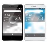 Smartphone blanc et noir réaliste avec l'affichage d'écran Photographie stock libre de droits