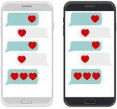 Smartphone blanco y negro, plantilla de charla del app del SMS burbujea, w Fotos de archivo