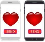 Smartphone blanco y negro, y ENVÍA el botón con el icono del corazón Pla Imagen de archivo