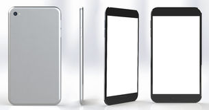 Smartphone with blank screen in several positions and angles. Stock Photography