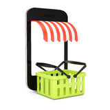 Smartphone with blank screen and shopping basket. On white background. mobile store concept. 3d rendering illustration Stock Photo