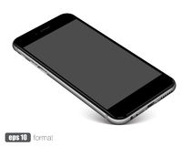 Smartphone with blank screen standing on corner,  on white background. High detailed eps 10 vector illustration Stock Image