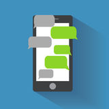 Smartphone with blank speech bubbles Royalty Free Stock Image