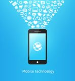 Smartphone on blue Royalty Free Stock Images
