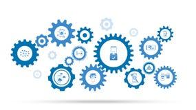 smartphone, boîte, icône de contrôle De l'ensemble mobile de concept illustration libre de droits