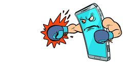 Smartphone-bokserkarakter Internet-agressie in sociale netwerken vector illustratie