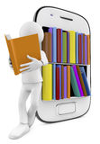 Smartphone Bookcase with Multicolor books and man reading Stock Images