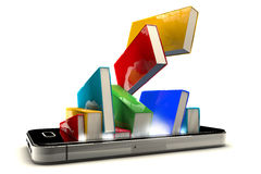 Smartphone with books Royalty Free Stock Photo