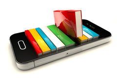 Smartphone with books Stock Images