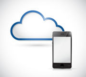 Smartphone and border storage cloud. Royalty Free Stock Image