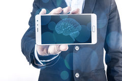 Smartphone And Brain Royalty Free Stock Photos