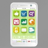 Smartphone branco com ícones Imagens de Stock