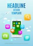 Smartphone branco com a nuvem de ícones coloridos da aplicação Livro da tampa do projeto do molde do vetor, inseto, cartaz ilustração royalty free