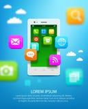 Smartphone branco com a nuvem de ícones da aplicação ilustração royalty free