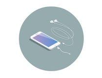 Smartphone branco isométrico do vetor com adaptador do fones de ouvido Fotos de Stock Royalty Free
