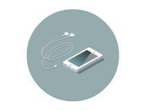 Smartphone branco isométrico do vetor com fones de ouvido Fotos de Stock Royalty Free