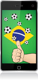Smartphone brazil thumb up Stock Images