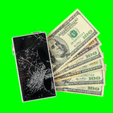 Smartphone with broken display lying on money banknotes Isolated Royalty Free Stock Images