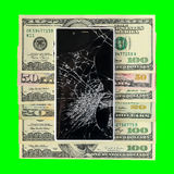 Smartphone with broken display lying on money banknotes Isolated royalty free stock image