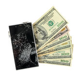 Smartphone with broken display lying on money banknotes Isolated Stock Photography
