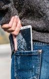 Smartphone with a broken screen. broken phone. Close-up royalty free stock photos