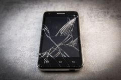 Smartphone with broken screen, broken phone. France stock photography