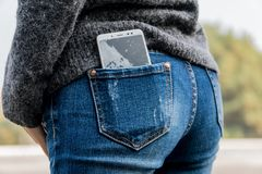 Smartphone with a broken screen. broken phone. Close-up stock image