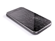 Smartphone with broken screen. 3d render Royalty Free Stock Photos