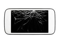 Smartphone with broken screen. Mobile smartphone with broken screen isolated on white background stock images