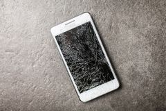 Smartphone with broken screen royalty free stock photos