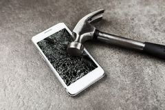 Smartphone with broken screen royalty free stock images
