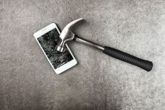 Smartphone with broken screen royalty free stock photos